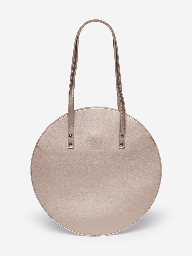 LOV Pewter Round Tote Bag