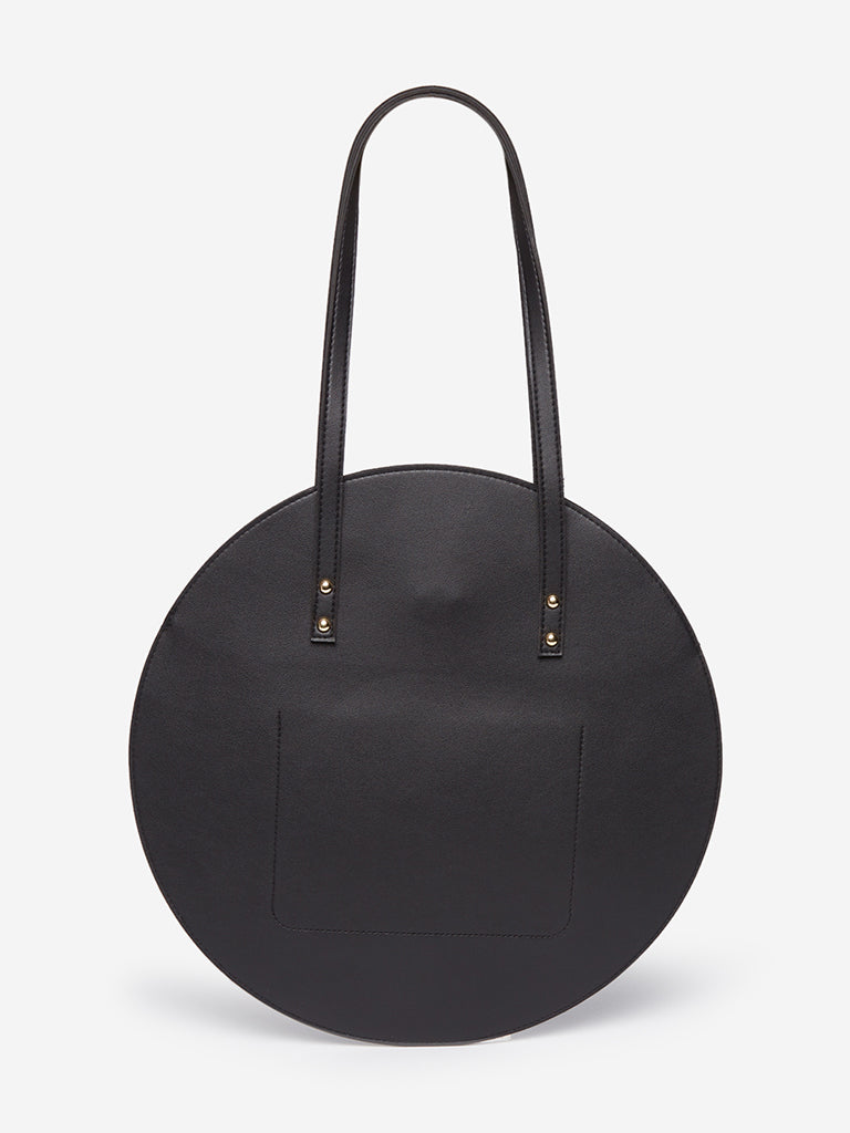LOV Black Round Tote Bag
