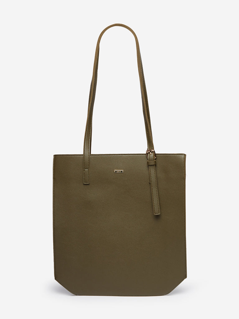 LOV Olive Faux-Leather Tote Bag