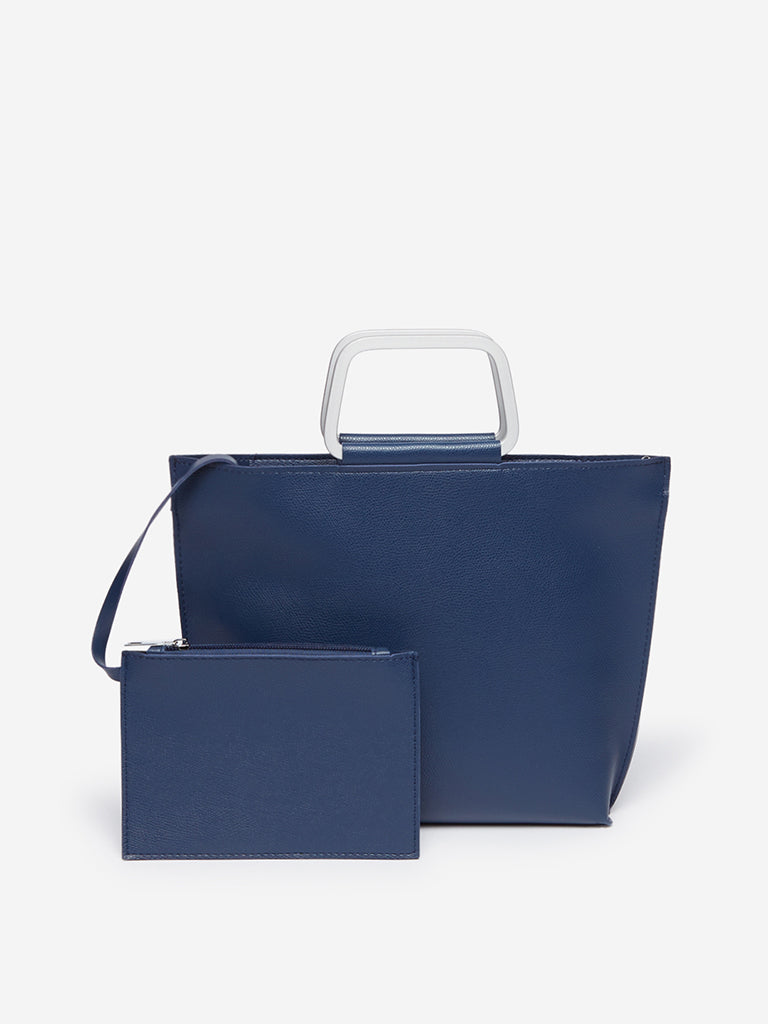 LOV Blue Tote Bag With Pouch