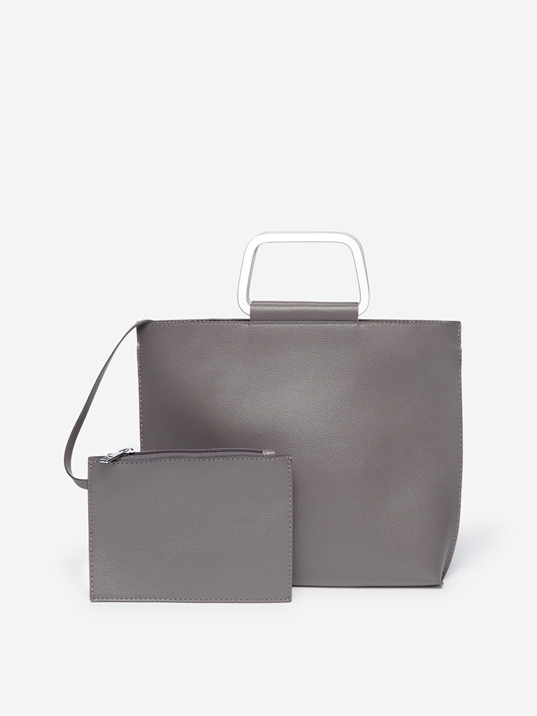 LOV Grey Tote Bag With Pouch