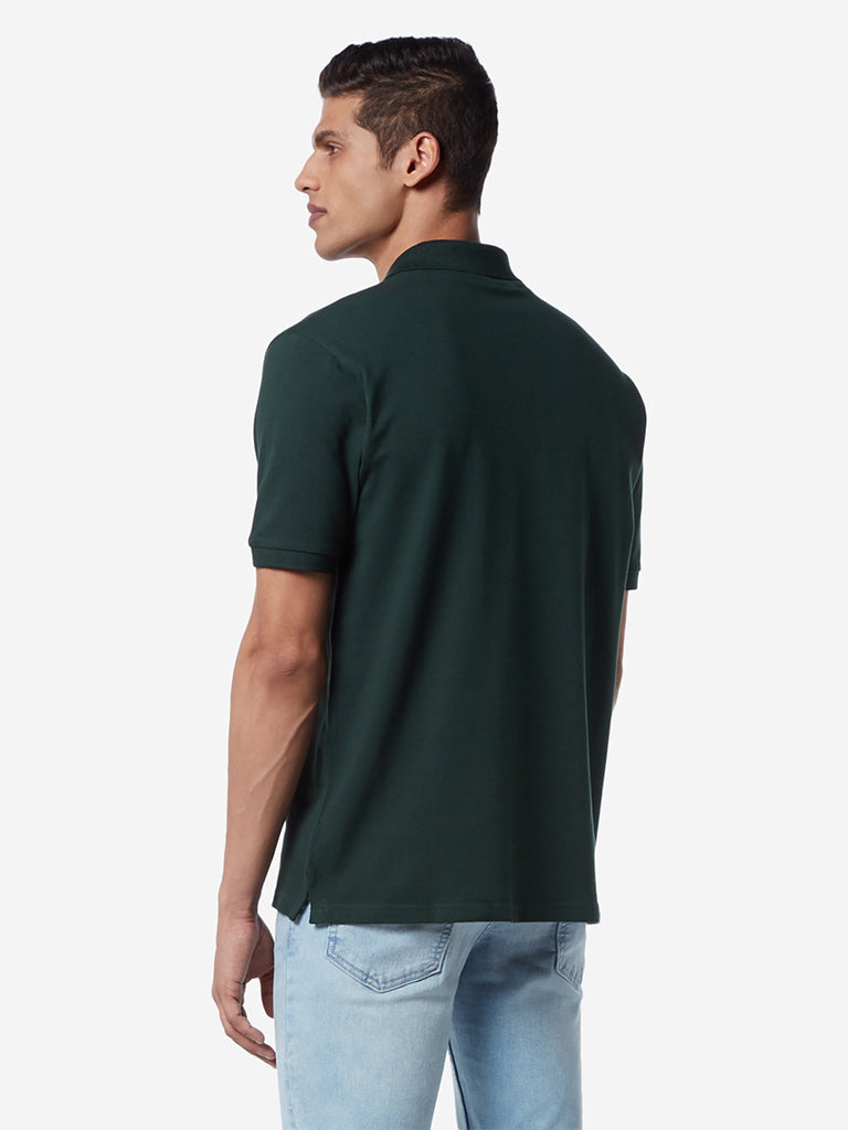 WES Casuals Dark Green Relaxed Fit Polo T-Shirt