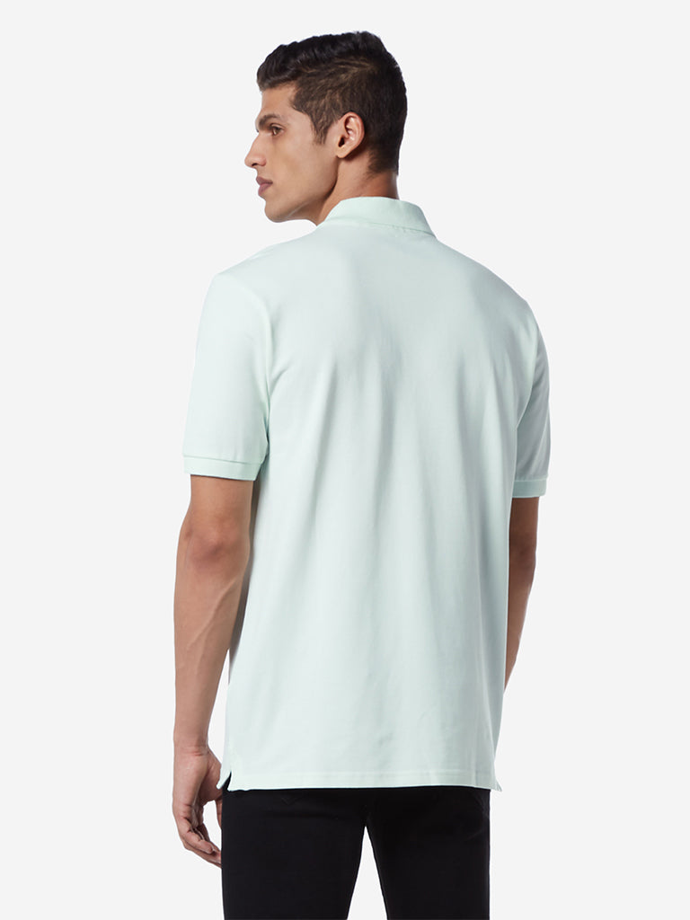 WES Casuals Mint Green Relaxed Fit Polo T-Shirt
