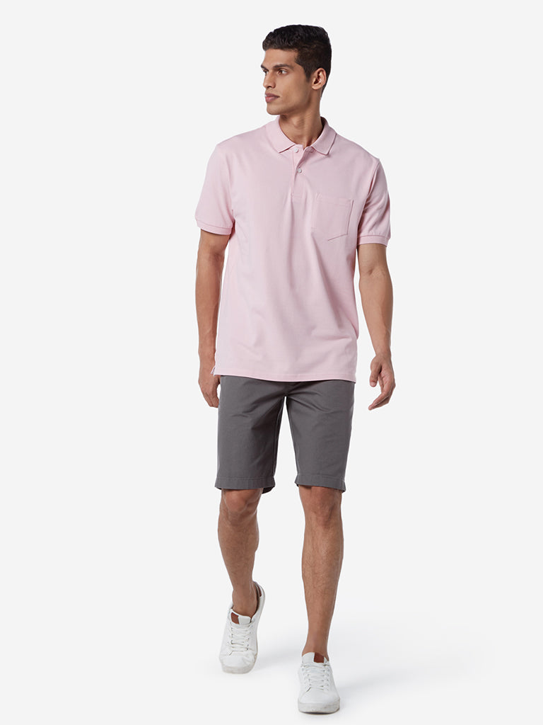 WES Casuals Light Pink Relaxed Fit Polo T-Shirt