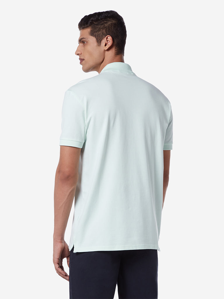 WES Casuals Mint Green Slim Fit Polo T-Shirt