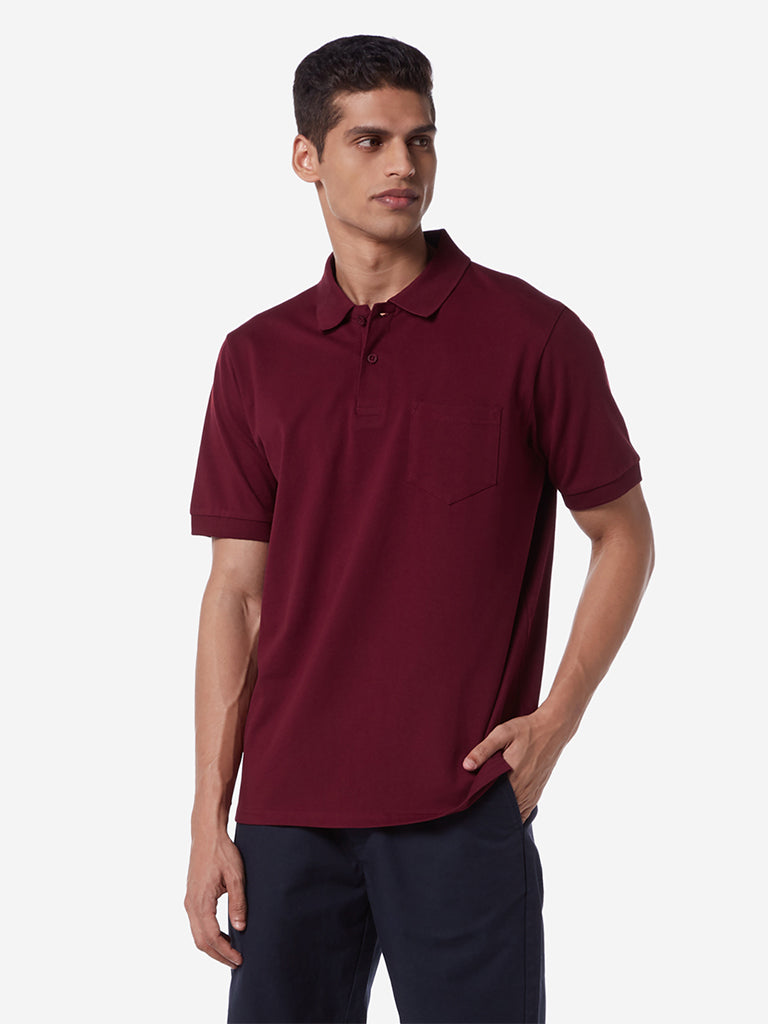 WES Casuals Burgundy Relaxed Fit Polo T-Shirt