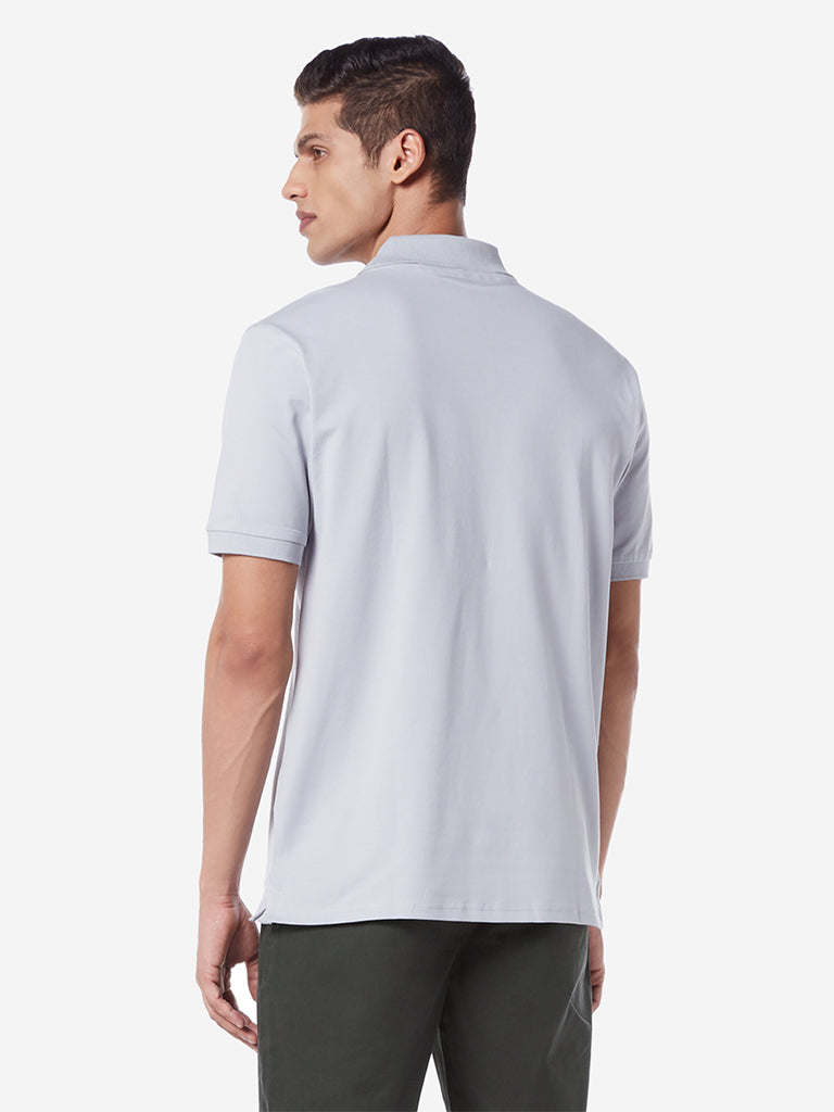 WES Casuals Light Grey Relaxed Fit Polo T-Shirt