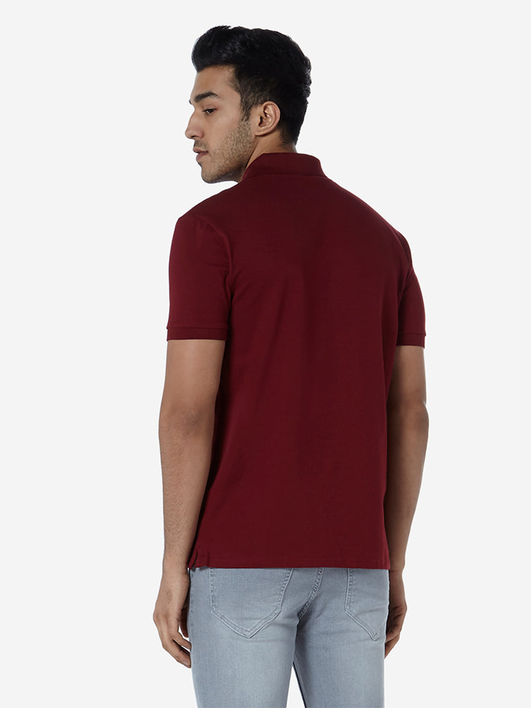 WES Casuals Burgundy Slim Fit Polo T-Shirt