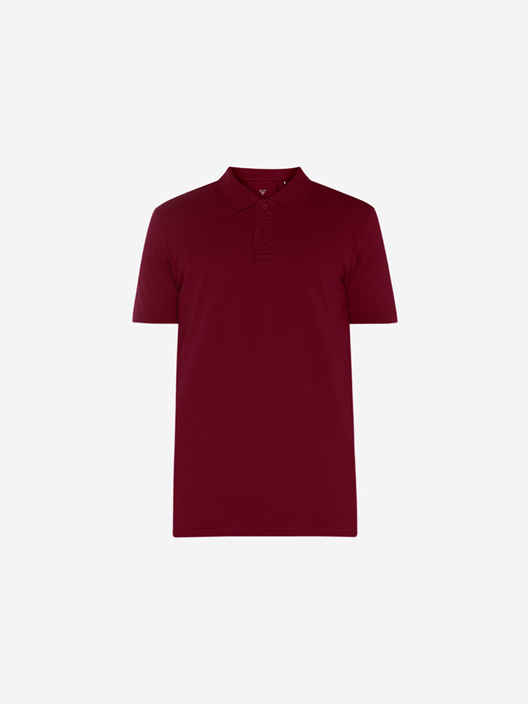 WES Casuals Red Slim Fit Polo T-Shirt