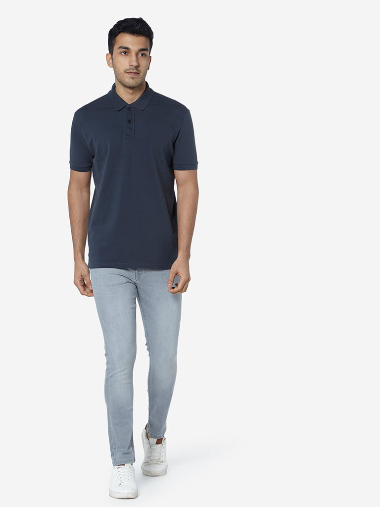 WES Casuals Charcoal Slim Fit Polo T-Shirt