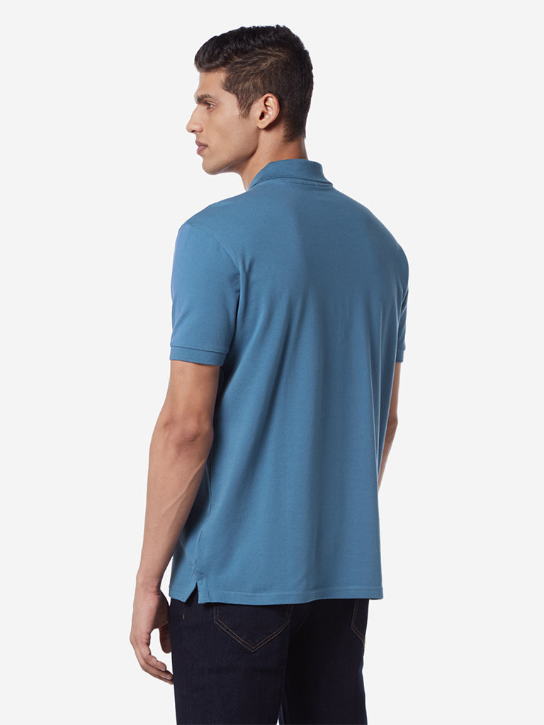 WES Casuals Blue Slim Fit Polo T-Shirt