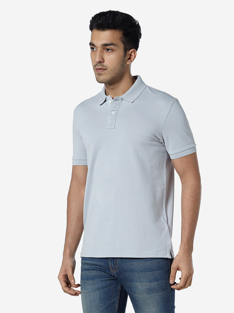 WES Casuals Light Grey Slim Fit Polo T-Shirt