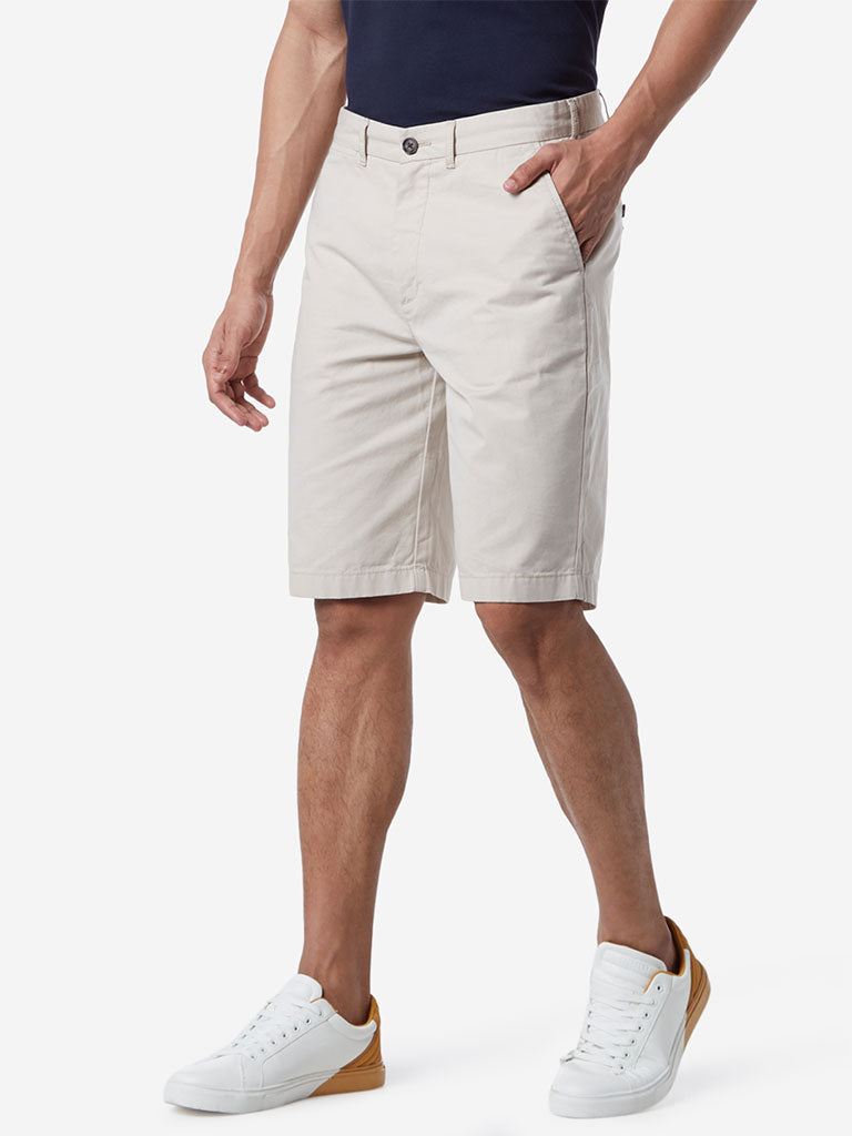 WES Casuals Beige Relaxed Fit Shorts
