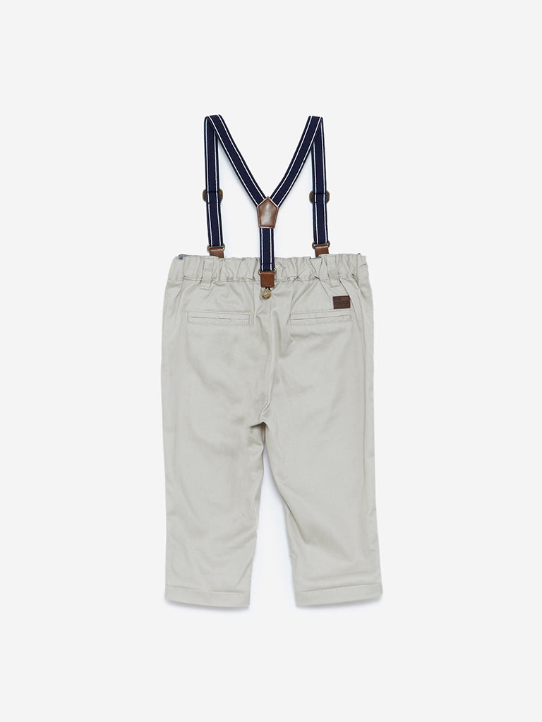 Baby HOP Ecru Newton Trousers With Suspenders