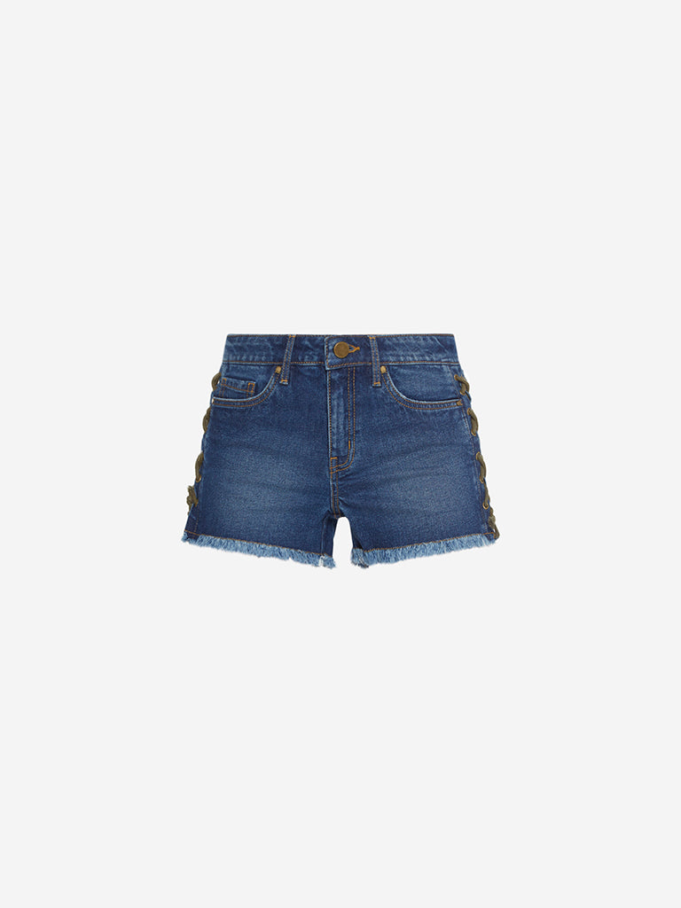 Nuon Blue Denim Criss-Cross Design Shorts