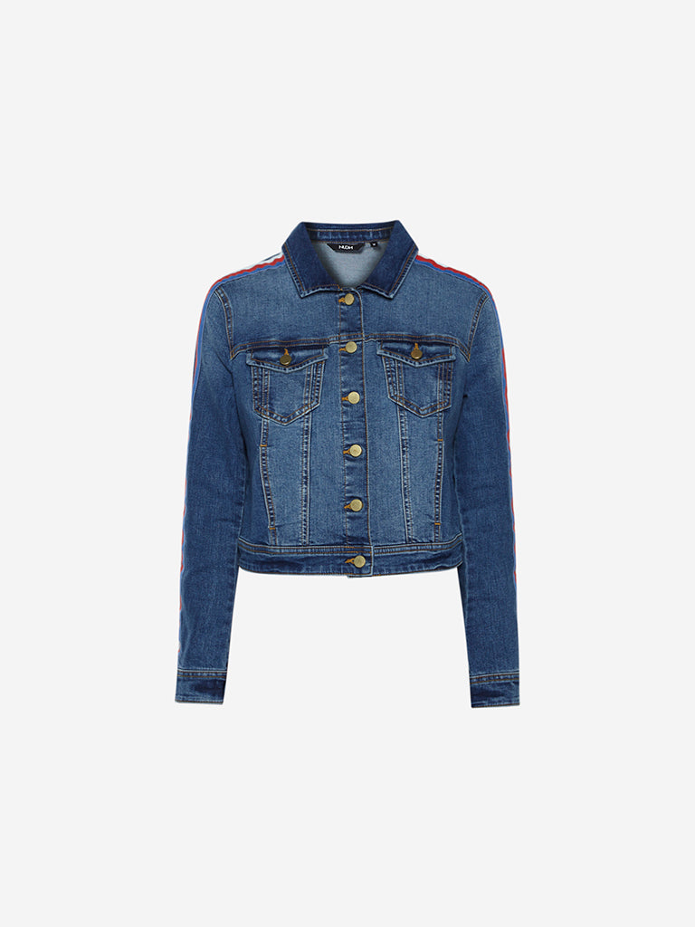 Nuon Blue Panel Detailed Jacket