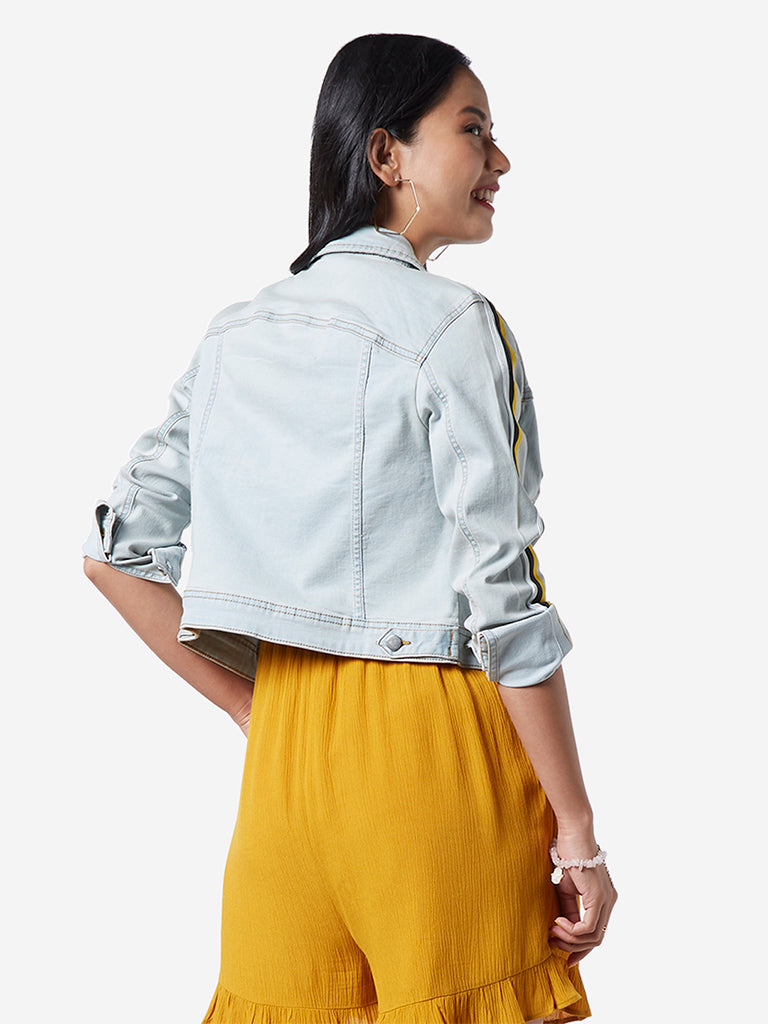 Nuon Light Blue Trucker Cropped Denim Jacket
