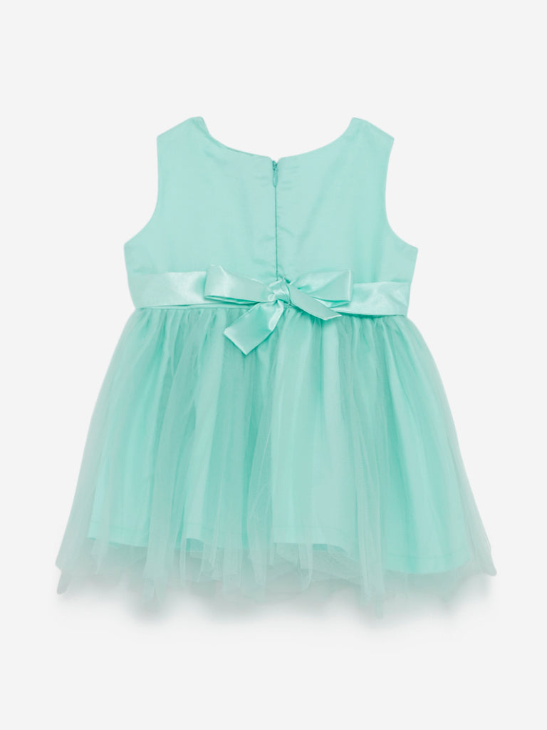 Baby HOP Sea Green Bow-Detailed Dress