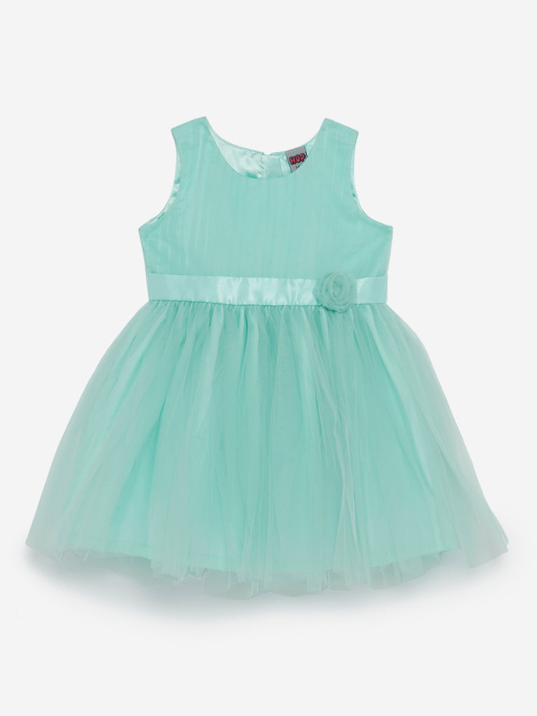 HOP Kids Sea Green Bow-Detailed Dress