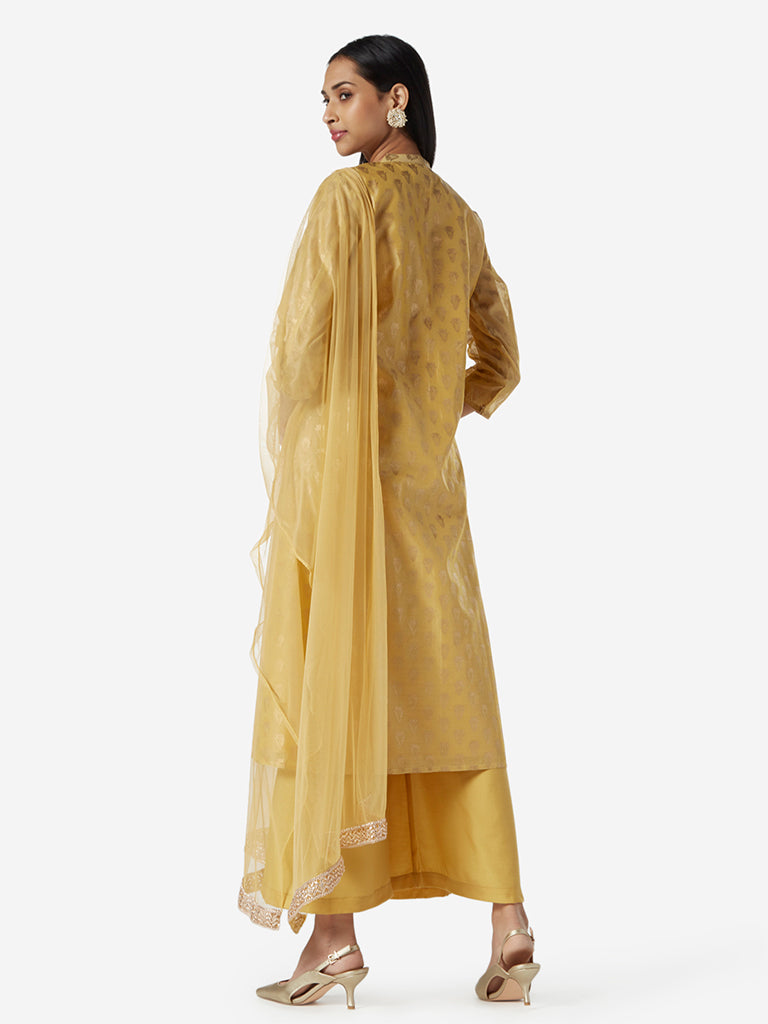 Vark Ochre Kurta, Palazzos and Dupatta Set