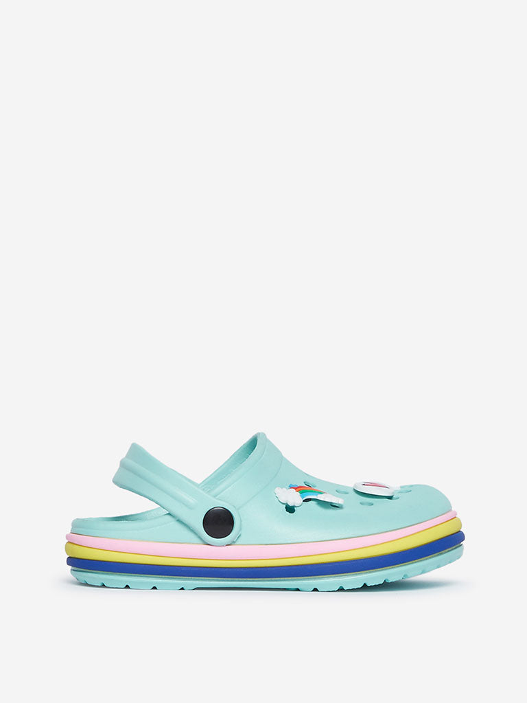 Yellow Kids Turquoise Rainbow Detailed Clogs