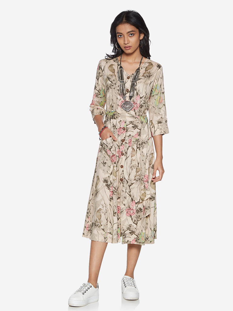 Bombay Paisley Off-White Floral Dress With Belt
