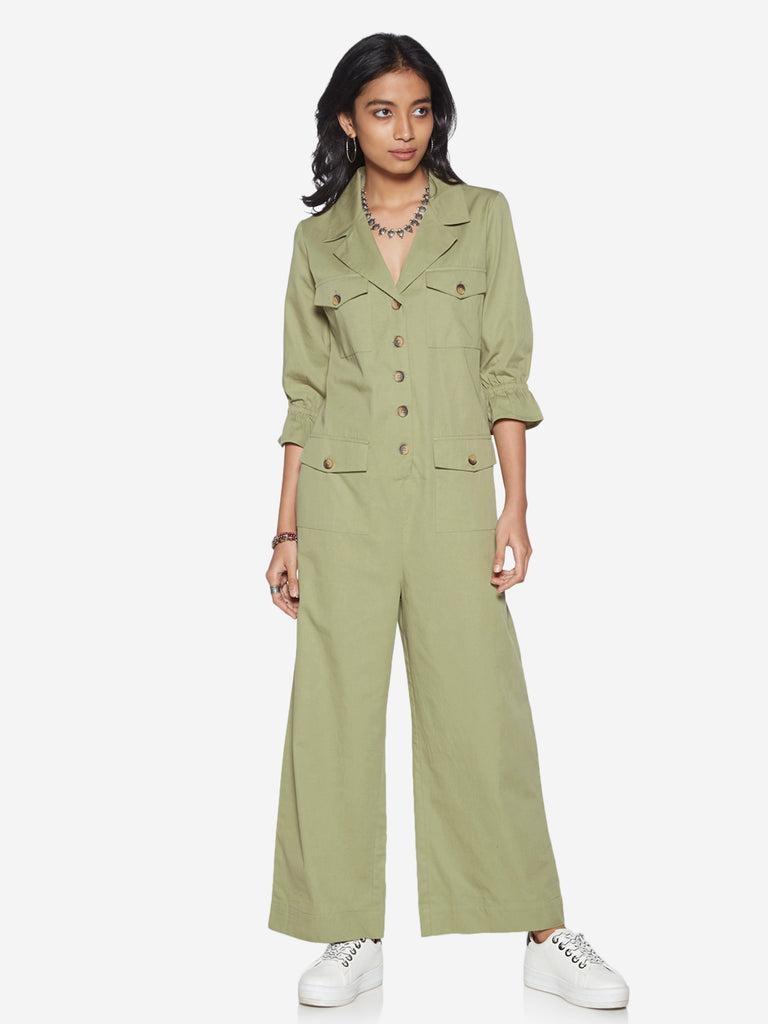 Bombay Paisley Green Pure-Cotton Jumpsuit