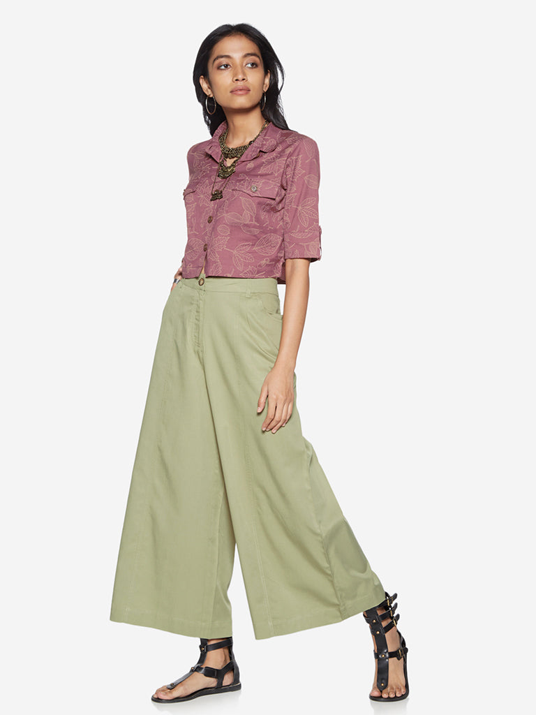 Bombay Paisley Mauve Tropical Cropped Shirt