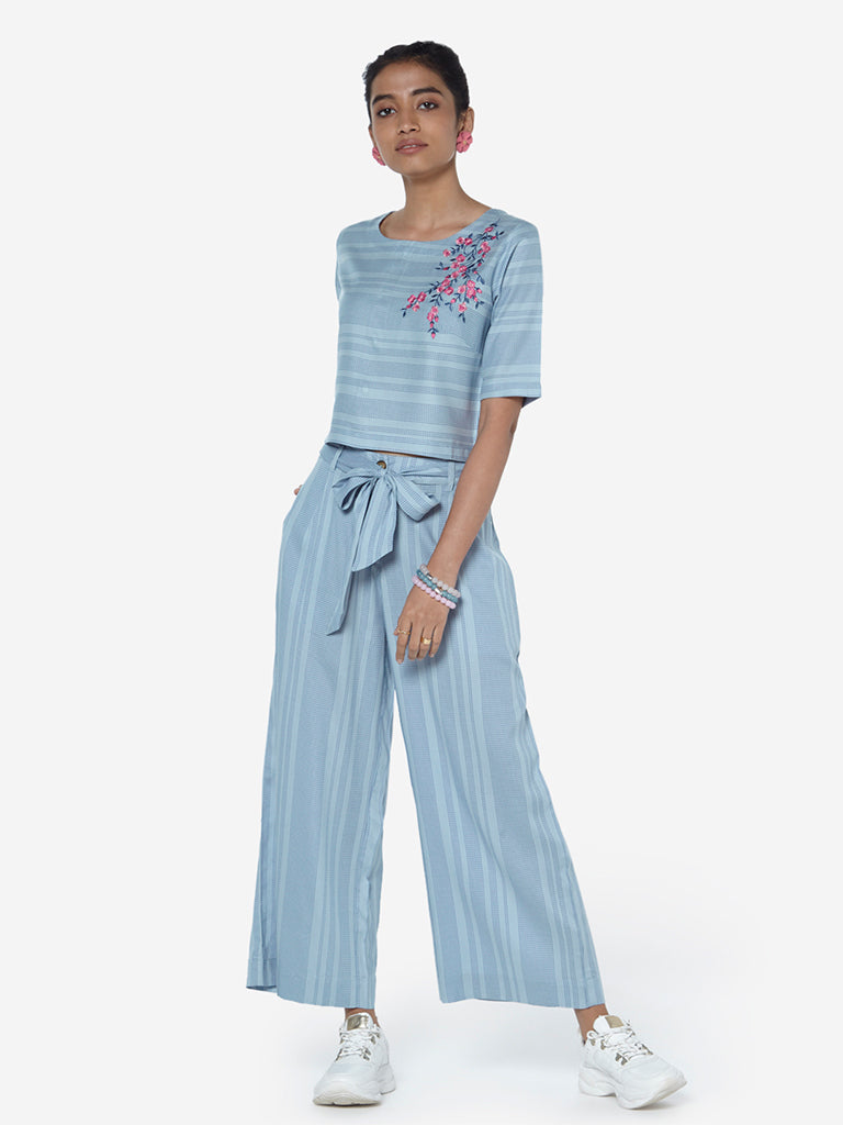 Bombay Paisley Sky Blue Striped Crop-Top