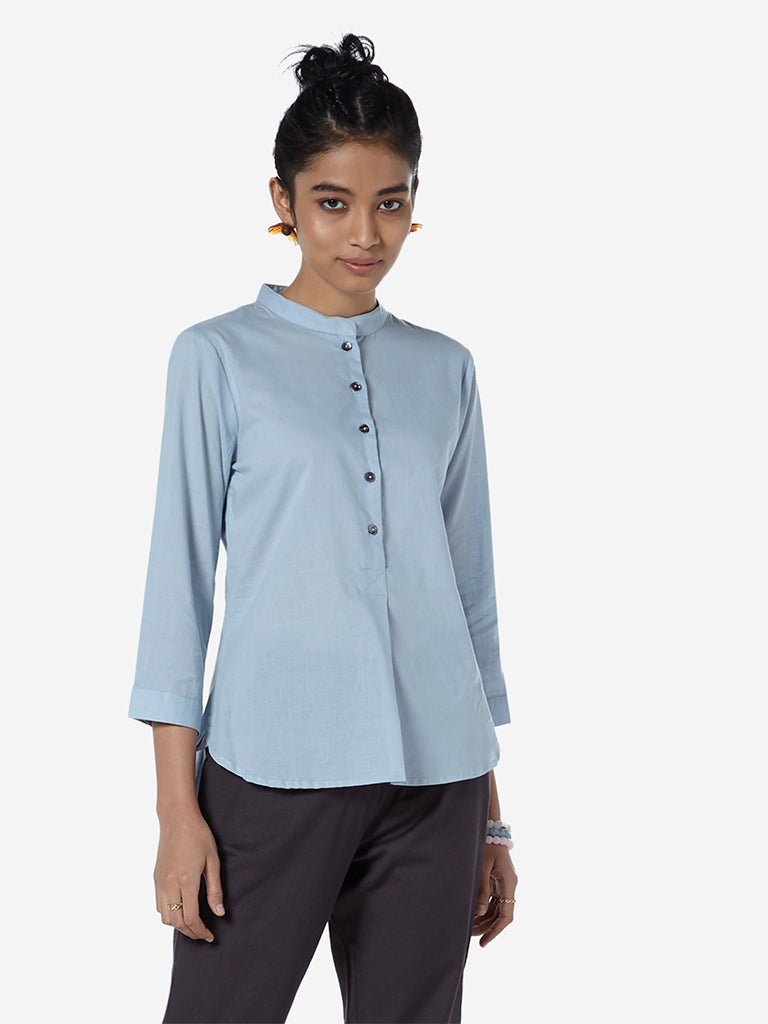 Bombay Paisley Light-Blue High-Low Ethnic Top