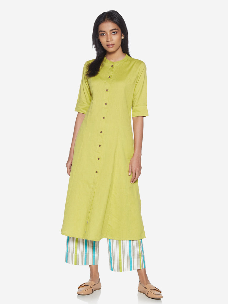 Utsa Light Green Pure Cotton A-line Kurta