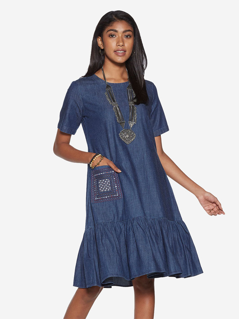 Bombay Paisley Blue Embroidered A-Line Dress