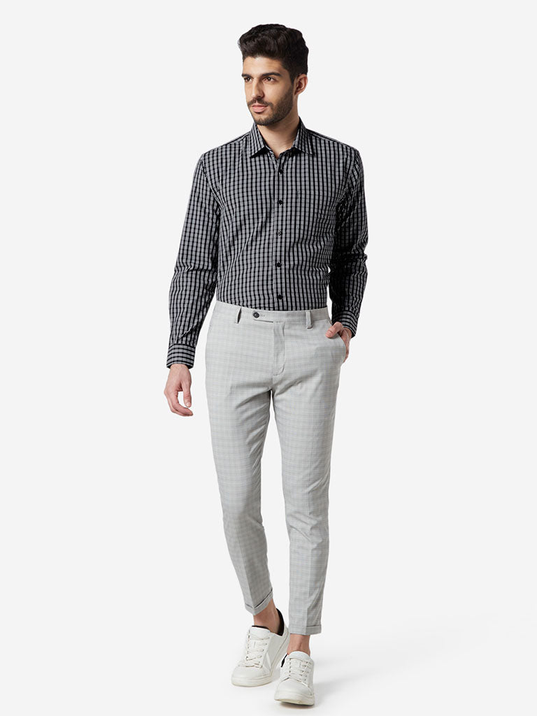 WES Formals Black Checked Relaxed Fit Shirt