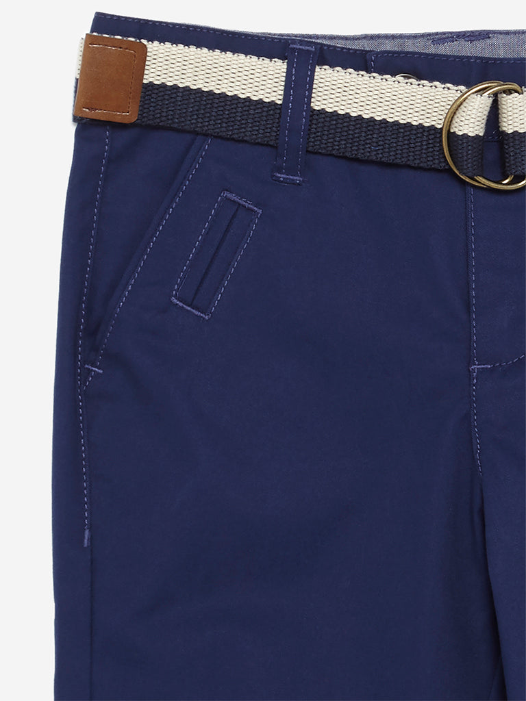 HOP Kids Navy Chris Trousers With Belt