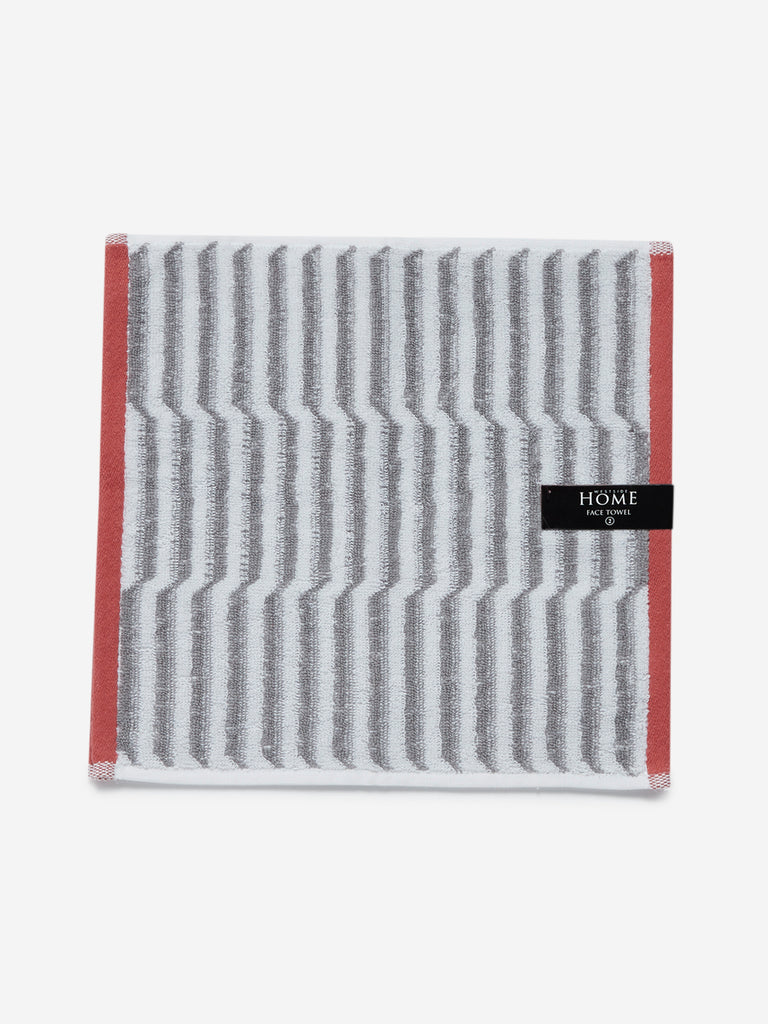 Westside Home Grey Striped Tonal Face Towel Set Of Two