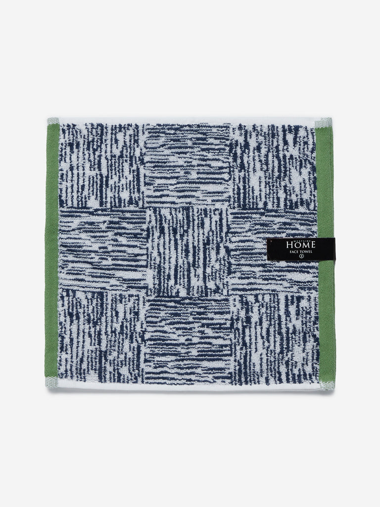 Westside Home Navy Checkered Face Towel Set of Two