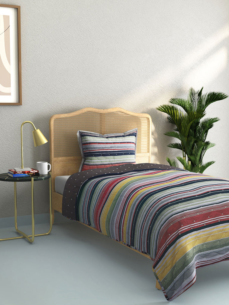 Westside Home Multicolour Striped Quilted Single Bedcover With Pillowcase