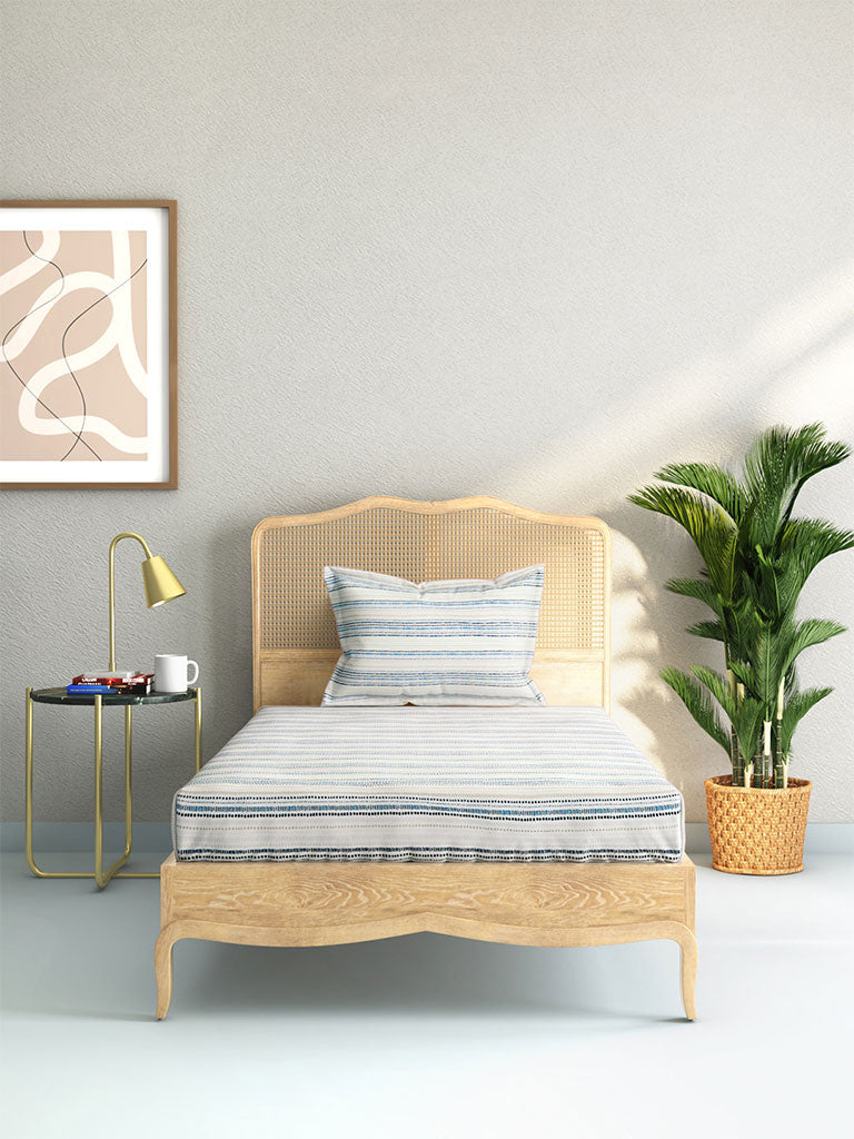 Westside Home Blue Geometrical Design Cotton Rich Single Bedsheet With One Pillowcase Set
