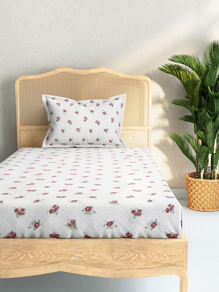 Westside Home Pink Rose Print Cotton Rich Single Bedsheet With One Pillowcase Set
