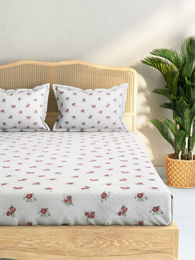 Westside Home Pink Rose Print Cotton Rich Double Bedsheet With Two Pillowcases Set