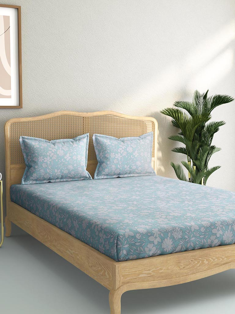 Westside Home Light Blue 144TC Double Bedsheet with Two Pillowcases