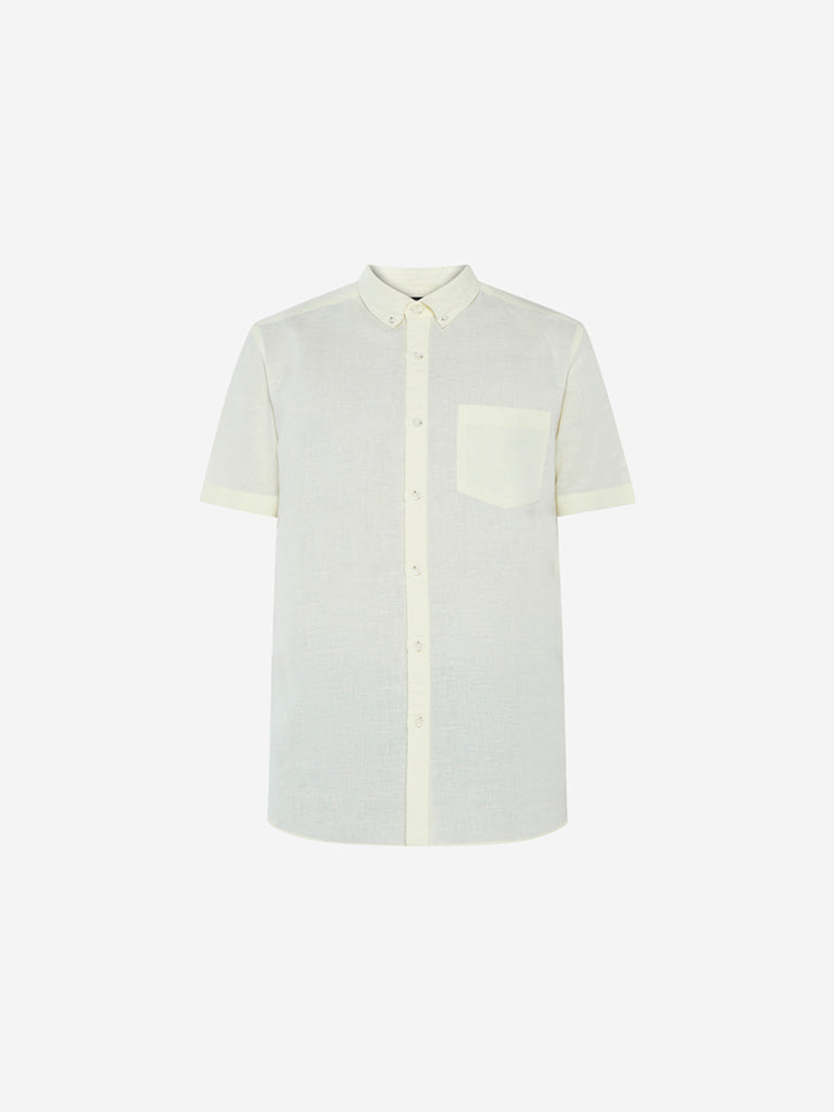 WES Casuals Light Yellow Slim Fit Shirt