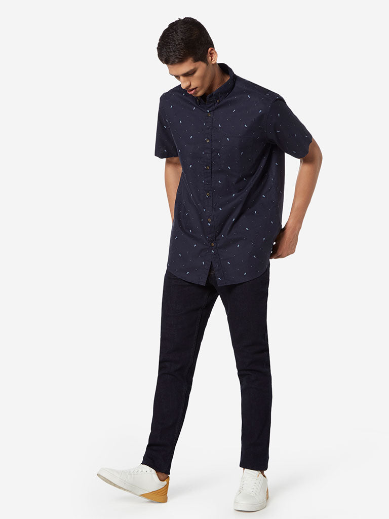 WES Casuals Navy Printed Relaxed Fit Shirt