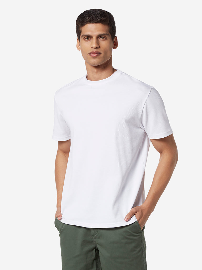Ascot White Self-Textured Slim Fit T-Shirt
