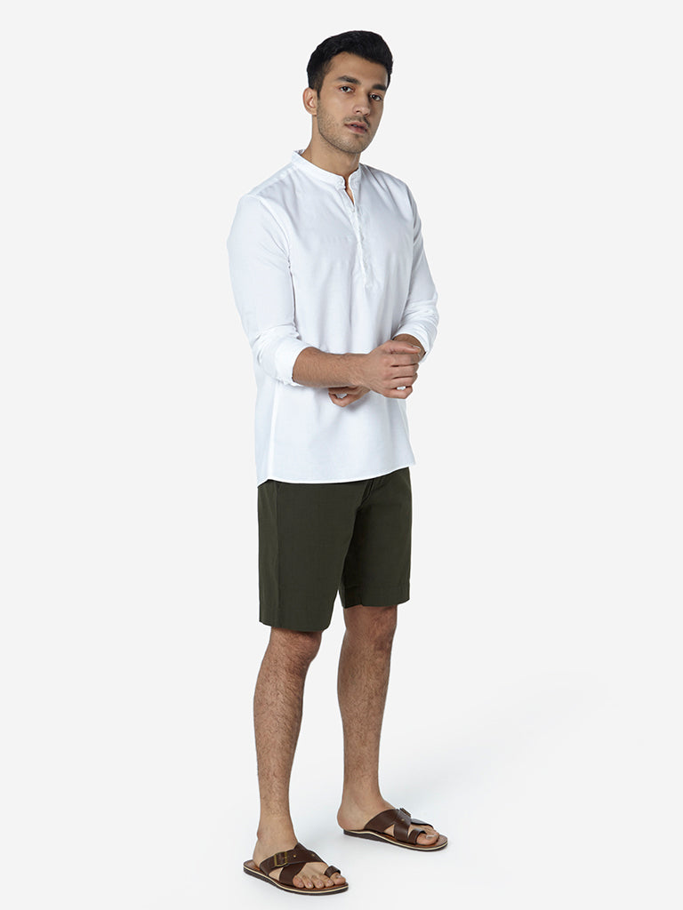ETA White Mandarin-Collar Resort Fit Shirt