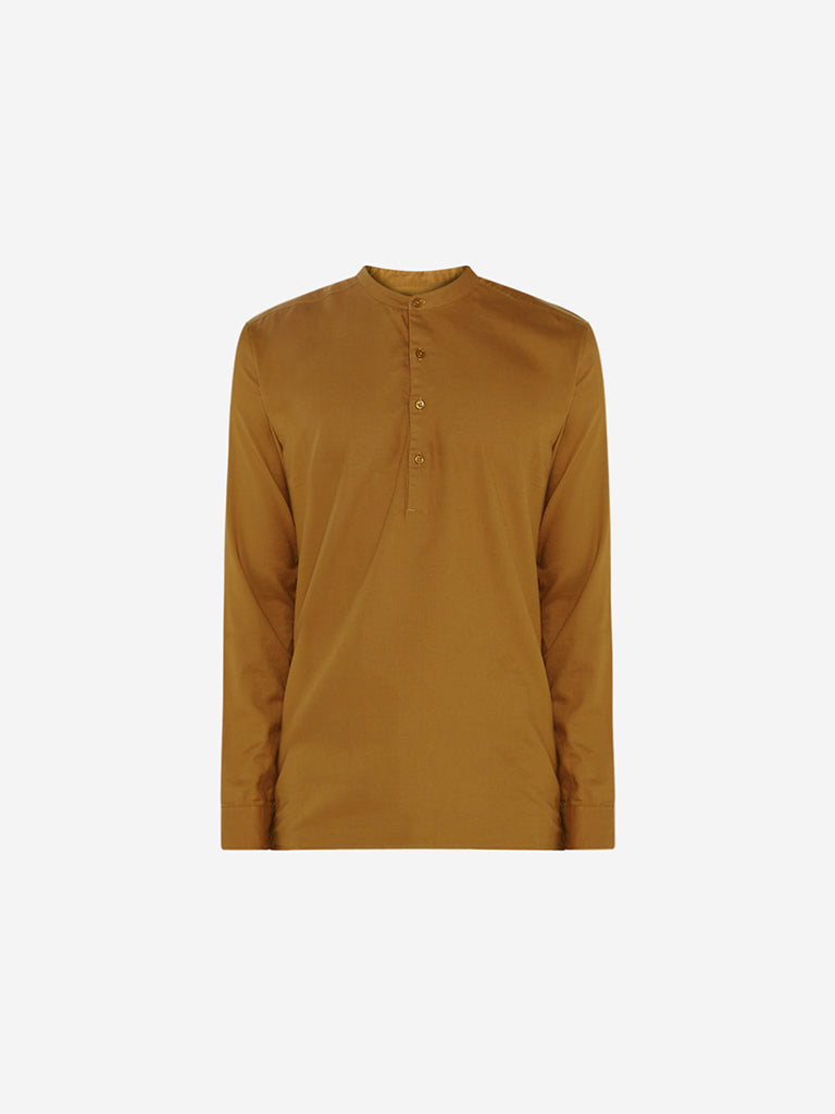 ETA Mustard Mandarin-Collar Resort Fit Shirt