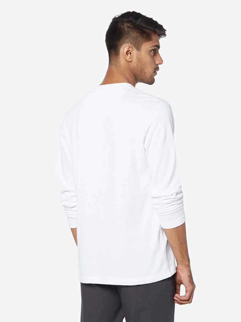 ETA White Self-Textured Slim Fit T-Shirt