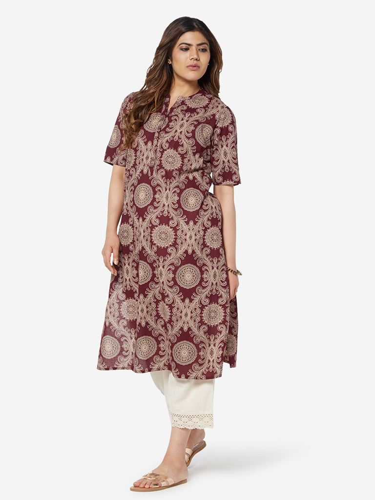 Diza Curve Maroon Pure Cotton Straight Kurta