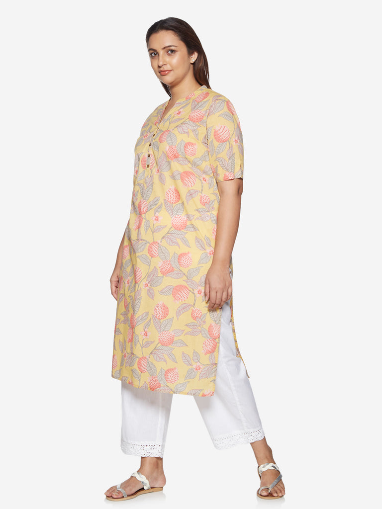 Diza Curve Yellow Pomegranate Printed Kurta