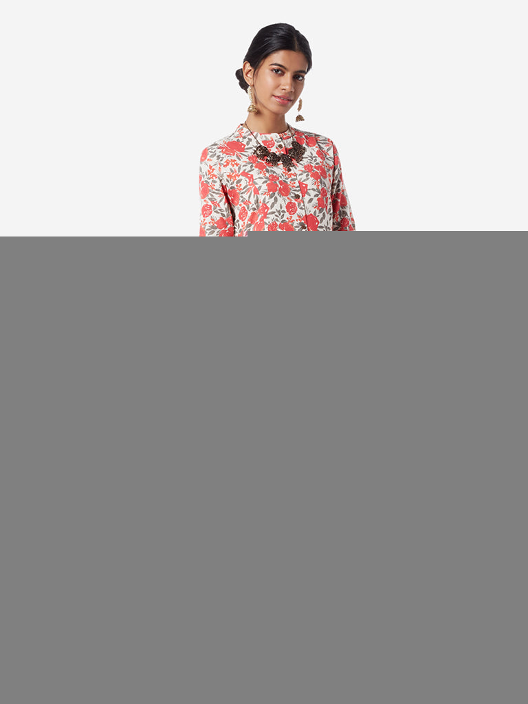Utsa Coral And Off White Floral A-line Kurta